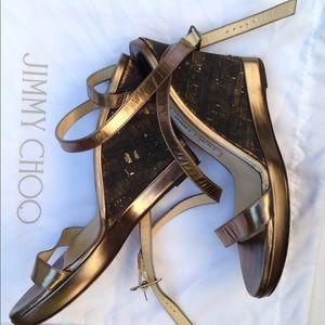 Jimmy Choo cross ankle leather /cork wedge sandals